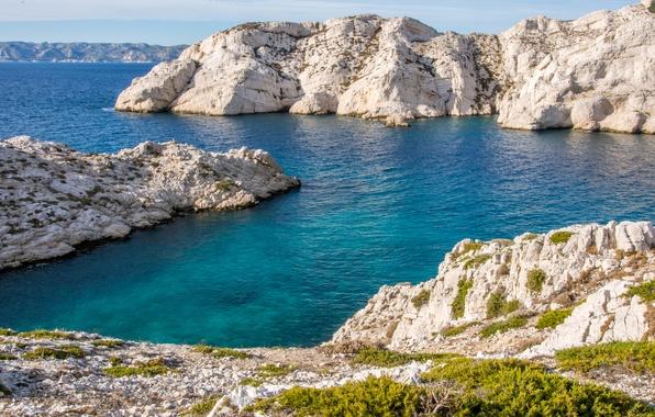 Picture sea, stones, rocks, coast, France, Marseille