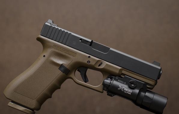 Photo Wallpaper Weapons Glock 17 Austrian Self Loading Flashlight Gun