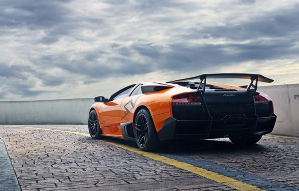 Picture the sky, orange, clouds, pavers, the fence, lamborghini, murcielago, orange, back, Lamborghini, Murcielago, lp670-4 SV