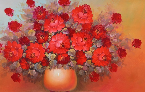 Picture red, Flowers, bouquet, vase