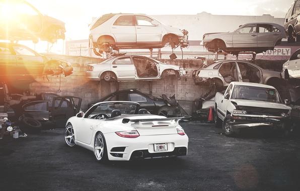 Picture white, the sun, 911, Porsche, dump, white, Roadster, Porsche, Blik, Turbo, salvage cars, car stuff