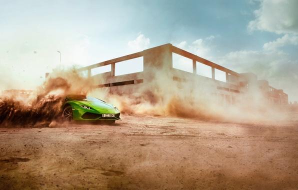Picture sand, green, dust, skid, salad, Lamborghini Hurricane