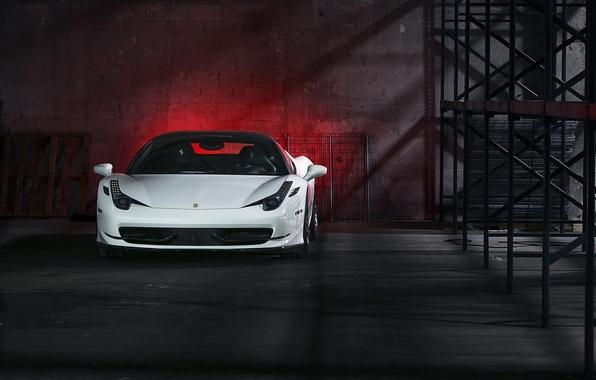 Picture white, night, white, ferrari, Ferrari, front view, night, Italy, 458 italia, headlights