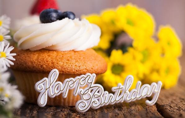 Picture flowers, birthday, holiday, bouquet, blueberries, cream, dessert, cupcake, happy birthday