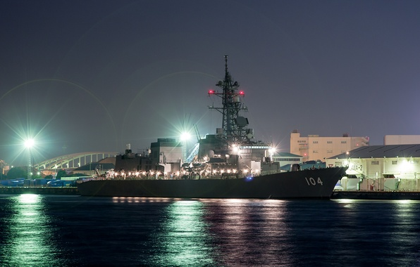 Picture night, lights, ship, military