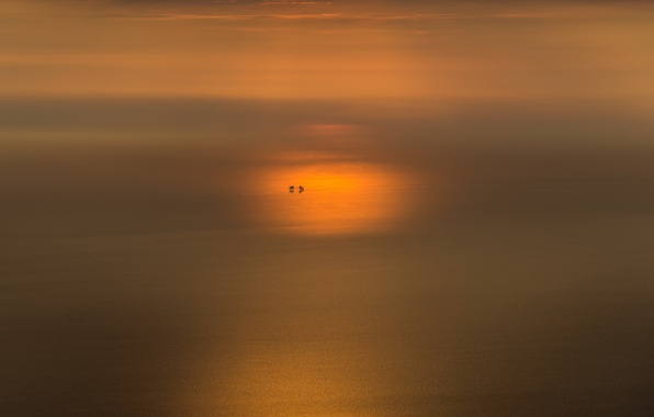 Picture sea, sunset, minimalism