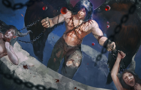 Picture girls, blood, wings, demon, chain, Astaroth