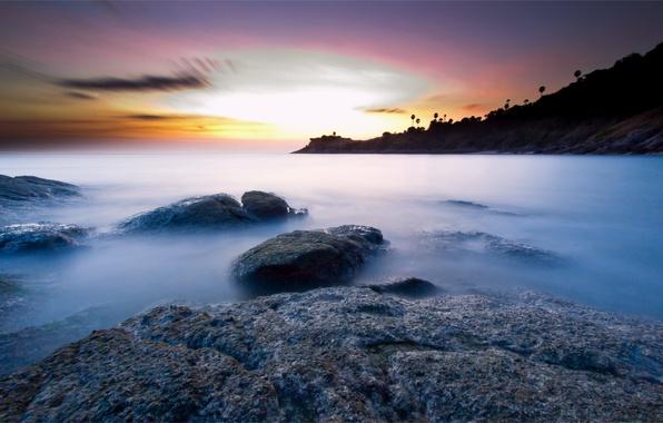 Picture sea, the sky, sunset, stones, the ocean, shore, coast, island, the evening, Thailand, calm, Phuket, …