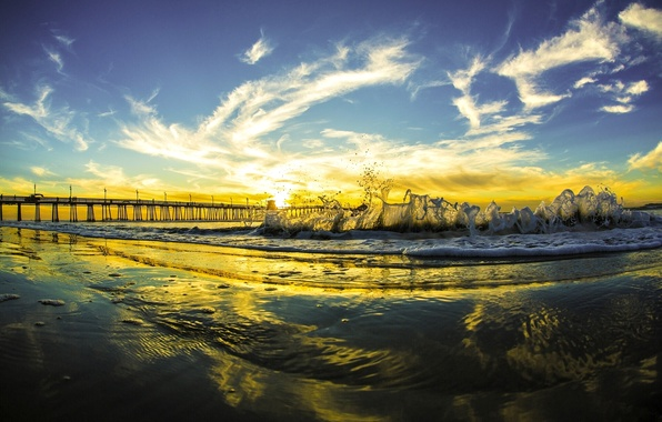 Picture the sky, clouds, sunset, bridge, the ocean, wave, CA, Pacific Ocean, California, San Diego, The …