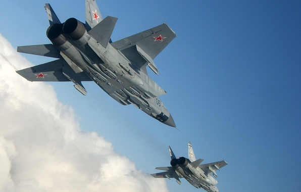 Picture the sky, height, Fighter, pair, flight, BBC, Russia, Interceptor, The MiG-31, Mikoyan, Gurevich