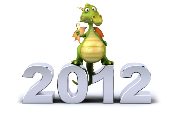 Picture dragon, new year, white background, 2012