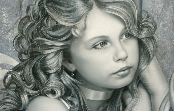 Picture eyes, look, face, hair, child, earrings, art, girl, painting, curls, artist, Christiane Vleugels