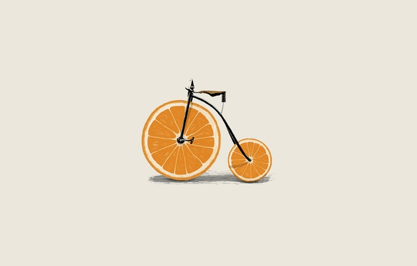 Picture bike, great, orange, minimalism, vector, wheel, slices, illustration