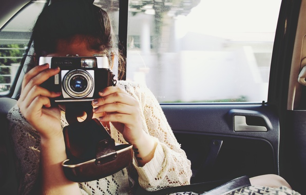 Picture machine, girl, camera, the camera, salon, relieves
