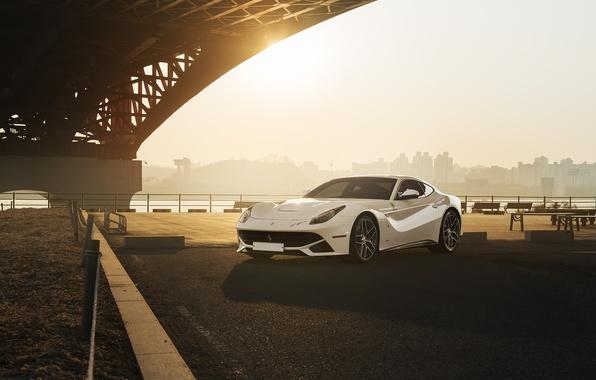 Picture City, Ferrari, Front, Bridge, Sun, White, Supercar, Berlinetta, F12