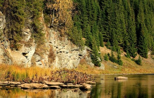 Picture autumn, trees, river, stones, rocks, Russia, Perm Krai, The Koiva