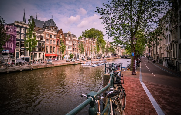 Picture road, machine, the city, river, home, Amsterdam, channel, Netherlands, the sidewalk, Amsterdam, bikes, Nederland