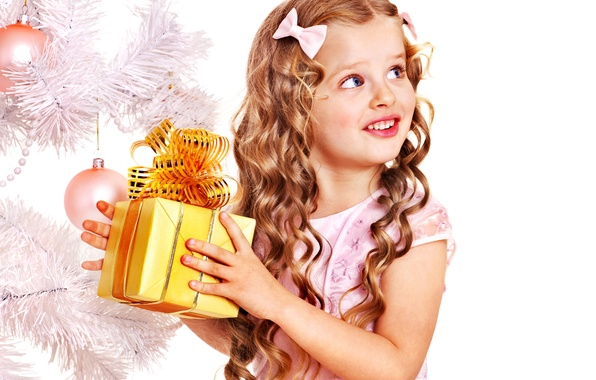 Picture children, smile, gift, tree, child, New Year, Christmas, girl, bows, Christmas, curls, holidays, New Year