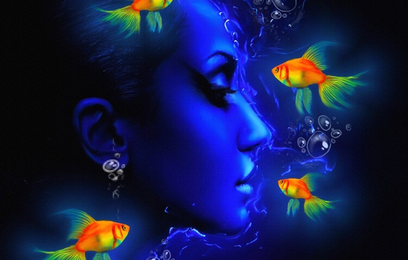 Picture face, fish, texture, profile, canvas