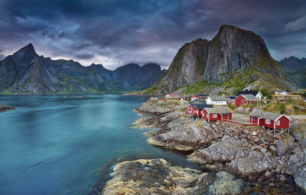Picture sea, the sky, mountains, home, Norway