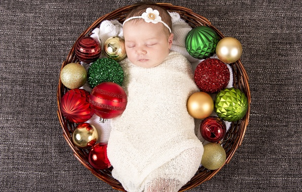 Picture Christmas, baby, basket