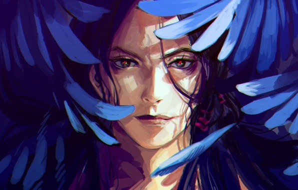 Picture face, smile, wings, anime, feathers, art, guy, JoJo no Kimyou na Bouken, by nouka, deluded