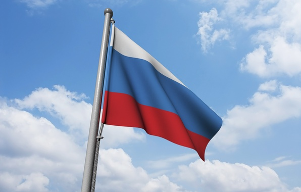 Picture the sky, background, the wind, flag, Russia, Russia, sky, background, flag, wind, Russian flag, the …