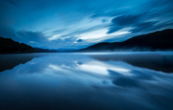 Picture the sky, water, clouds, fog, lake, surface, reflection, blue, England, the evening, UK, haze, reserve