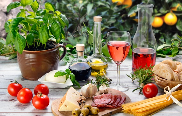 Picture table, wine, red, glass, oil, food, cheese, bread, vegetables, tomatoes, olives, spaghetti, sausage, garlic