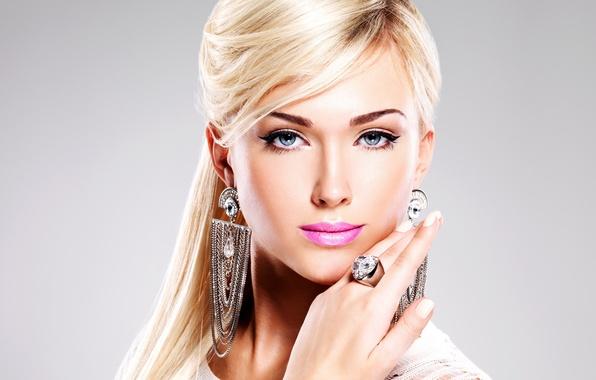 Picture blue eyes, model, ring, blonde, makeup, jewelry, diamondsl, lipstick