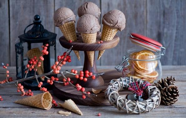 Picture berries, oranges, branch, ice cream, lantern, Bank, still life, bumps, waffles