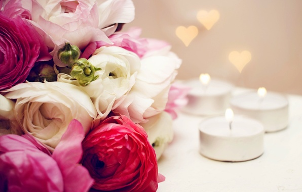 Picture flowers, heart, bouquet, candles, heart, flowers, bouquet, candles