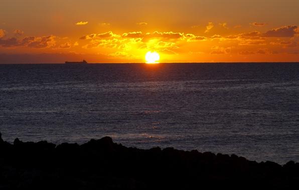 Picture sea, the sky, the sun, clouds, sunrise, shore, ship, the East coast of Italy