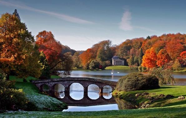 Picture autumn, the sky, trees, bridge, lake, pond, Park