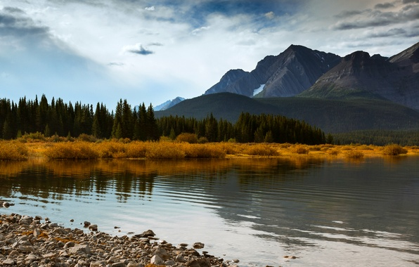 Picture autumn, forest, the sky, clouds, trees, mountains, lake, blue, Canada, Albert, Alberta, forest, Canada, sky, ...