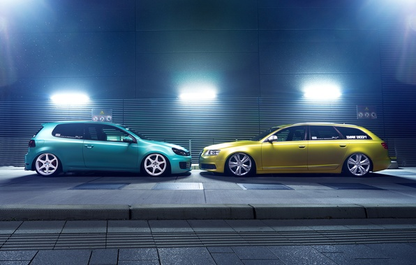 Picture green, profile, low, stance, canibeat, Audi A6, stancenation, Volkswagen Golf 6 GTI
