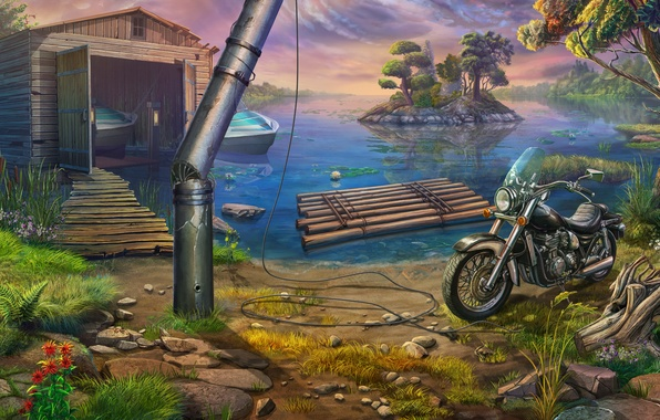 Picture nature, Lake, motorcycle, boats