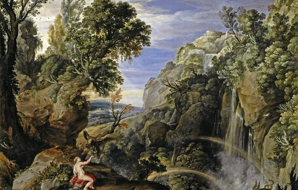 Picture trees, rock, waterfall, picture, mythology, Paul Brill, Landscape with psyche and Jupiter