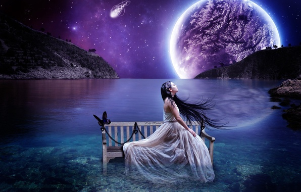 Picture the sky, girl, landscape, bench, butterfly, planet, stars, brunette, horizon, shop, chain