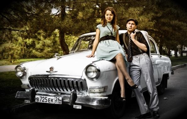 Picture machine, retro, pair, retro, Volga, braces, retro car