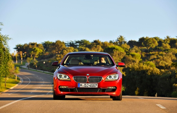Picture Red, Road, BMW, Grille, Asphalt, BMW, The hood, Day, 6 Series, The front