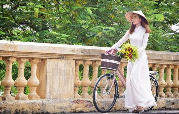 Picture girl, flowers, bike, bouquet, walk, Asian