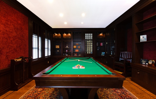 Picture table, lamp, room, balls, sport, furniture, Billiards, room, interior, billiards, billiard room, Kii, rest.