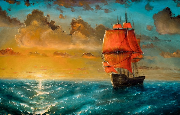 Picture sea, wave, clouds, sunset, ship, sailboat, art