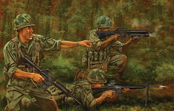 Picture figure, jungle, art, soldiers, shooting, Vietnam, rifle, equipment, U.S., modification, M-16