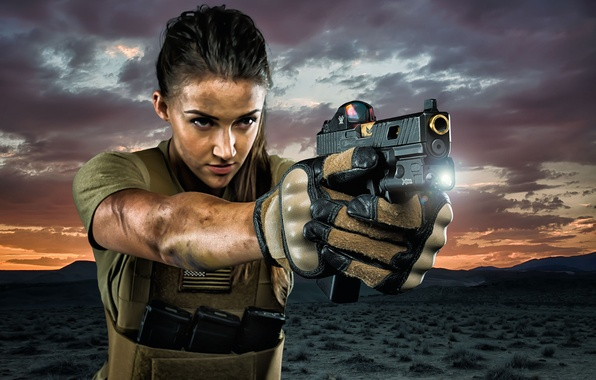 Picture girl, face, gun, weapons, background, ray, flashlight