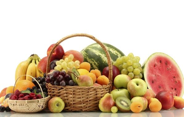 Picture berries, raspberry, basket, apples, oranges, watermelon, kiwi, blueberries, grapes, bananas, fruit, peaches, pear