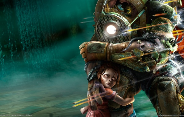 Picture protection, shooting, BioShock, sister, big daddy