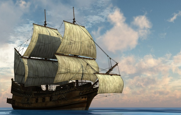 Picture freedom, the ocean, Ship, sails, mast