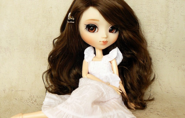 Picture toy, doll, dress, brunette, sitting, long hair